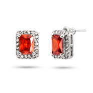 Pretty Ruby Red and Clear Emerald Cut CZ Stud Earrings