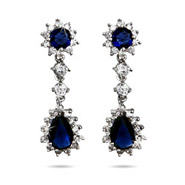 Stunning Royal Sapphire CZ Peardrop Earrings