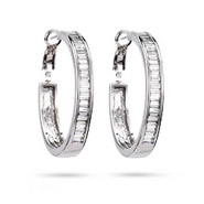Sparkling Baquette Cut CZ Hoop Earrings
