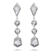 Beautiful Long Drop Multi-Shape CZ Earrings