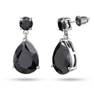 Ebony's Dusky Black CZ Faceted Peardrop Earrings