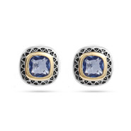 Designer Style Omega Back Periwinkle CZ Earrings
