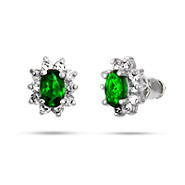 Petite Oval Emerald CZ Stud Earrings