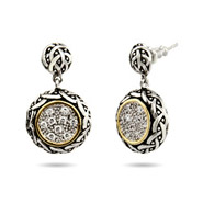 Designer Inspired Renaissance Style Round Pave Drop CZ Earrings