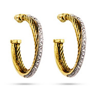 Designer Inspired Gold Crossover CZ Cable Hoop Earrings
