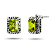 Classy Emerald Cut Peridot CZ Stud Earrings