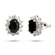 Beautiful Oval Cut Onyx CZ Stud Earrings