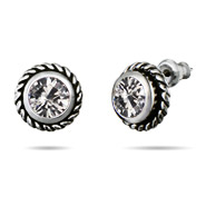 Clear CZ Cable Stud Earrings
