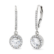 Classic Style Brilliant Cut CZ Leverback Earrings