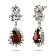 Exquisite Ruby CZ Peardrop Earrings
