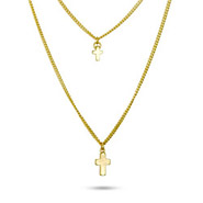 Layered Goldtone Cross Necklace