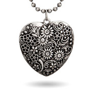 Oxidized Floral Heart Medallion