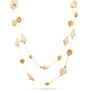 Designer Inspired Brushed Gold and Mother of Pearl 36 Inch Necklace