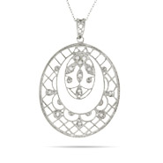 Victorian Style Scalloped Lattice and Leaf Design Pendant