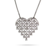 Sparkling CZ Laced Heart Necklace