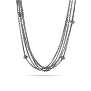 Designer Inspired Five Strand with Scattered Pave Beads Necklace