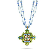 Antique Ornate Style Pendant with Green and Blue Cz