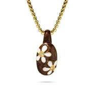 Gold with Brown Enamel Daisy Necklace