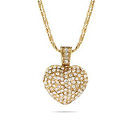 Multi Strand Sparkling Gold Pave Heart Necklace