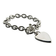 Tiffany Style Heavy Gauge Sterling Silver Heart Tag Bracelet