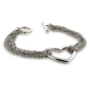 Tiffany Style Ten Strand Heart Chains Silver Bracelet