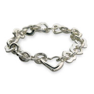 Tiffany Inspired Silver Heart Link Bracelet