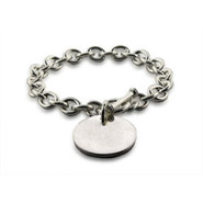 Tiffany Style Sterling Heavy Gauge Round Tag Bracelet
