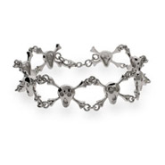 Sterling Silver Skull and Crossbones Bracelet- Skull Jewelry