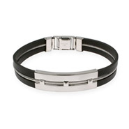 Mens Studded Bar Rubber and Stainless Steel Bracelet
