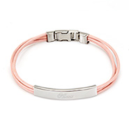 Ladies Pink Leather Band Stainless Steel ID Bracelet
