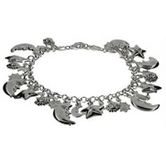 Sterling Silver Sun, Moon and Stars Charm Bracelet