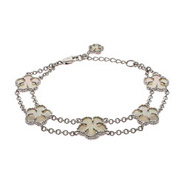 Designer Style Double Strand Mother of Pearl Clover Bracelet
