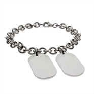 Sterling Silver Engravable Double Dog Tag Bracelet