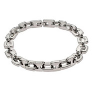 Mens Square Link Stainless Steel Bracelet