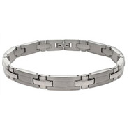 Mens Thin Cross Link Stainless Steel Bracelet