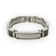 Stainless Steel and Carbon Fiber Mens Bracelet