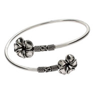 Sterling Silver Bali Style Hibiscus Bangle Bracelet