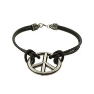 Black Leather Bali Style Peace Bracelet