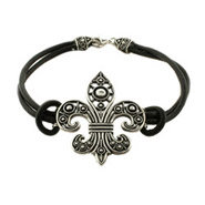 Black Leather Bali Style Fleur de Lis Bracelet