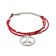 Sterling Silver Red 3 Strand Beaded Peace Sign Bracelet