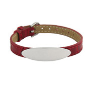 Engravable Red Leather Oval ID Bracelet