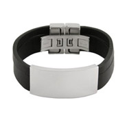 Mens Black Band Wide Engravable ID Bracelet