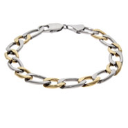 Mens Two Tone Curb Link Stainless Steel Bracelet