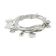 Good Fortunes Sterling Silver Love Charm Bracelet Set
