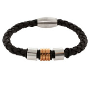 Men's Magnum Style Braided Black Leather Bracelet