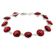 Sterling silver Red Evil Eye Bracelet
