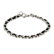 Unisex Slim Cuban Link Bracelet with Leather Inlay