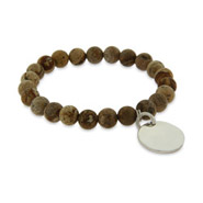 Engravable Genuine Jasper Power Bead Bracelet