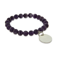 Engravable Genuine Amethyst Power Bead Bracelet