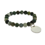 Engravable Genuine Moss Agate Power Bead Bracelet